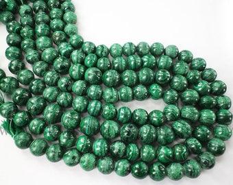 Gemstone Beads, Malachite Smooth Round (Quality CD) / 11 to 13.5 mm / 36 cm / MA-035
