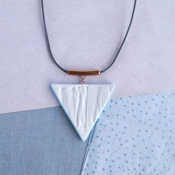 RUCHED No17 geometric triangle necklace porcelain necklace rose gold white cerulean blue white necklace long geo necklace artisan necklace