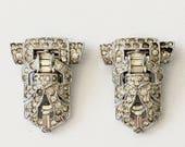 Vintage Art Deco Rhinestone Shoe Clips
