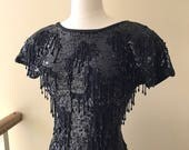 Vintage Nancy Johnson Wool Acrylic Blend Black Sequin Beaded Dress Size XS Small