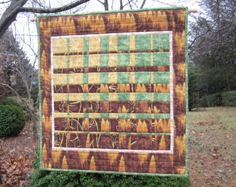 "Quilted Wallhanging ""Woodlands"" Convergence Art Quilt, Fiber Art, Geometric Wall Hanging, Modern Fabric Art Quilt, Quiltsy Handmade"