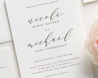 Nicole Letterpress Wedding Invitations - Deposit