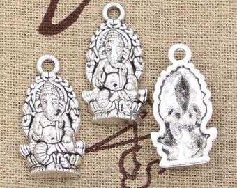2 Ganesha Elephant Charms: Antique Silver One-Sided for Bracelets, religion charms, jewelry supplies