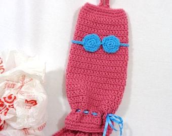 Pink Mermaid Crochet Plastic Bag Holder, Walmart Bag Holder, Ecofriendly, Mermaid Lover Gift, Ocean Theme Decor, Nursery Decor for Girl