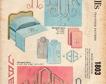 1950s Monogram Embroidery Transfer Pattern - Vintage McCall's 1803 - Letters C E F P or S