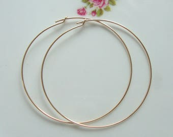 45mm, 2 pcs, 14k Gold Filled Beading Hoops Earwires
