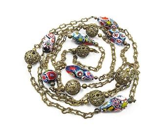 Millefiori Glass Bead Necklace, Filigree Metal Balls, 52 Inces Long, Single Strand, Venetian Glass, Vintage Beads, Vintage Necklace