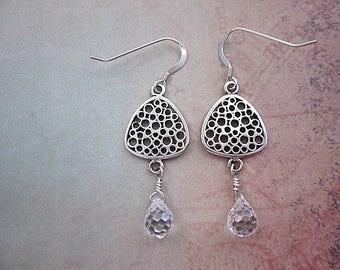 Triangle Dangle Earrings -- Sterling & Clear Earrings -- Cz Drop Earrings -- Sterling Cz Earrings -- CZ Dangle Earrings -- Triangle Gems