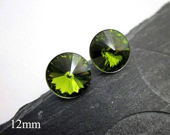 Round Green Studs -- 12mm Round Studs -- Large Round Posts -- Olive Stud Earrings -- Olive Green Crystal Studs -- Olive Studs -- Swarovski
