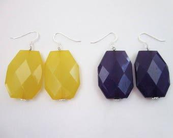 Purple or Yellow Earrings -- Sport Team Jewelry -- Football Spirit Accessories -- Large Acrylic Earrings -- Minnesota Vikings Jewelry --SKOL