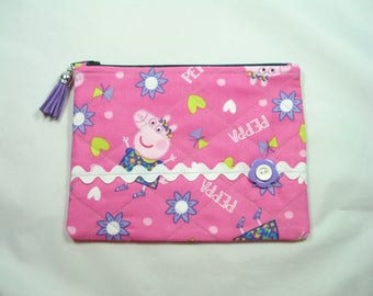 Cosmetic Purse / Cosmetic Bag / PEPPA PIG Purse / Quilted Zipper Pouch / Pink Pig Purse Organizer / Peppa Pig Pouch / Tassel Zipper Pull