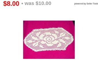 Rose Filet Crochet Doily Table Centerpiece White Cotton Oval Flower Doily