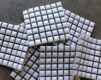 "White 3/8"" Ceramic Tile-49 pc"