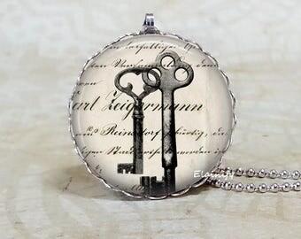 SALE! Vintage keys sketch drawing necklace, retro ephemera, glass dome necklace, secret hiding place, key to my heart, key jewelry