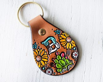 Custom initial leather key fob - Cacti and Sunflowers Pattern keychain - hand painted and hand stamped Cactus Succulent tag - Mesa Dreams
