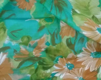 Green Large Scale Floral Silky Vintage Fabric Yardage