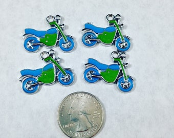 Blue and Green Dirt Bike Pendant Charms