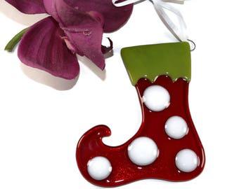 Elf Stocking Ornament, Fused Glass, Elf Boot, Elf Shoe, Christmas Decor, Christmas Sun Catcher, Holiday Decor, Christmas Ornament