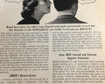 1951 zonite feminine hygiene ad 5 1/2 x 7 1/2.