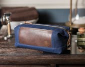 Personalized Dopp Kit: Waxed Canvas, Expandable, Water-Resistant, Hanging Toiletry Bag, Travel, Navy Blue - No. 321 (Made in the USA)