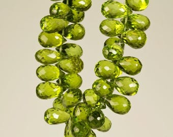 ON SALE Peridot Teardrops Faceted Beads Briolettes Bright Green August Birthstone Earth Mined - 5 Beads - 6x4 to 7x5mm - Pairs Unlikely