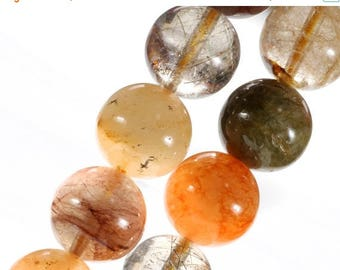 ON SALE Golden Rutilated Quartz Beads Smooth Rounds Copper Rutilated Tangerine Black Tourmalinated Earth Mined  8-Inch Strands - 8 or 10mm