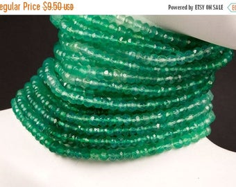 ON SALE Mystic Green Quartz Rondelles Faceted Shaded Green Rondels Roundels Light Green Emerald Green - About 3.5mm - 6.5-Inch Strand