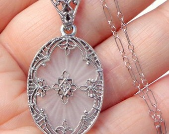 Vintage Quartz Crystal Camphor Glass, Diamond Necklace, Sterling Silver, Victorian, Art Deco Style