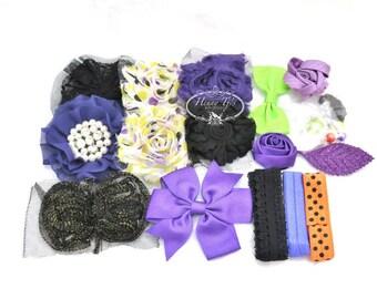 DIY Baby Headband Kit : HOCUS POCUS - Halloween (Black Orange Purple Green) Shabby Chic, Flower, Baby Shower  Headband, Planner Supplies.