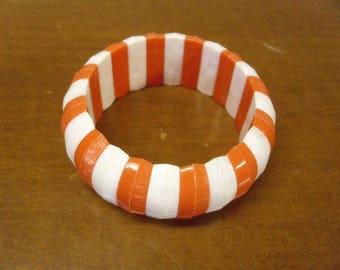 Vintage 1960's Orange & White  Stretch Bracelet