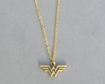 Wonder Woman Necklace- Your choice Black Leather Cord or Gold Plated Chain