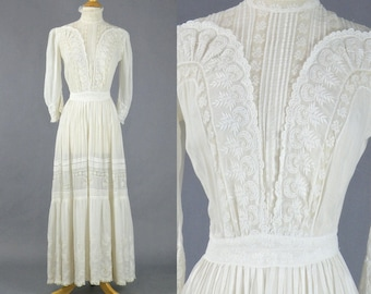 Edwardian White Dress, Antique Tea Dress, 1910s Dress, Edwardian Cotton Day Dress