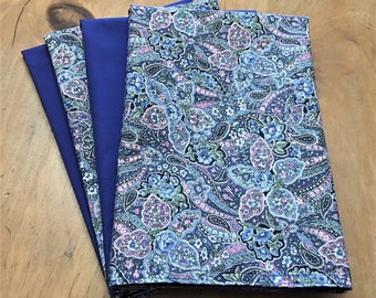 Blue & Pink Floral Paisley Reusable Cloth Napkins Set of 4 Double Sided 100% Cotton Eco Friendly Large 20 x 20