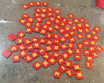 Vintage ABC Letters Alphabet Soup Cardboard Tiles Great for Crafts Altered Art Destash Scrapbooking Embellishments