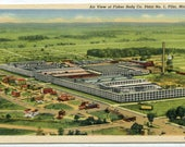 Fisher Body Co Plant No 1 Aerial View Flint Michigan linen postcard