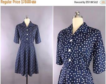 FLASH SALE - Vintage 1950s Dress / 50s Day Dress / 1950 Navy Blue Polka Dots Shirtwaist Dress / Size Medium M 6 8