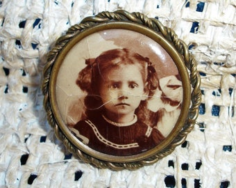 Celluloid Photo Mourning Pin, Brooch - Girl w/ Dark Eyes