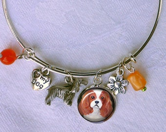 Blenheim Cavalier King Charles Spaniel Charm Bracelet ~ Girlfriend Gift ~ Wire Bangle ~ July Birthday ~ Cavi Owner Gift