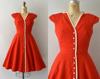 Vintage 1950s Dress - 50s Mr. Mort Red Pique Cotton Dress