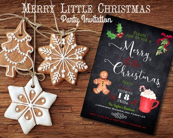 Merry Little Christmas Party  invitation - Holiday Invitation - Printable digital file
