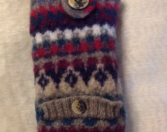 knit pattern Felted wool Eye glass case with fron pocket sun glass case red green tan large button secure top upcycled pure wool sweater