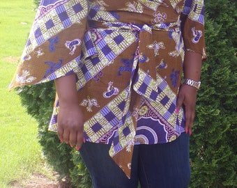 African print fabric wrap tunic/w batwing sleeves