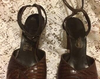 1940's Seymore Troy Lizard Skin Peep toe Heels