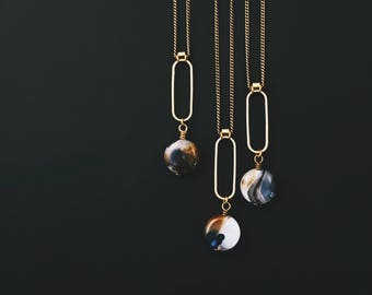 CIVAL collective - Nyla Necklace   Art Deco Agate Drop   Mod Pendant   Handmade Jewelry Design    Brass and Natural stone Nexklace
