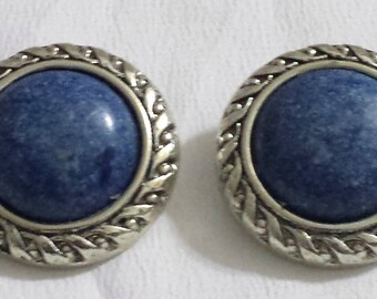 Vintage Silver tone and blue cabochon clip on earrings