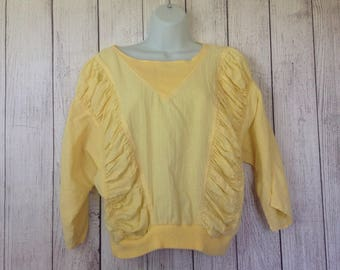 Vintage 80s Yellow Gathered Sleeves Cropped Blouse Shirt by Italian Dressing Co Ladies Large