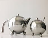 mid-century modern sphere ball tea pot w basket and sugar bowl and spoon - polished aluminum - chrome kettle teapot - vintage '50s geometric