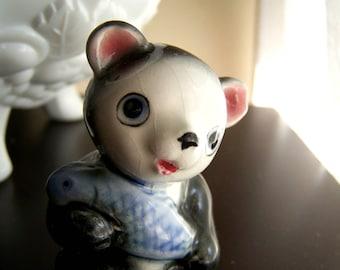 Vintage Ceramic Panda Bear Figurine -- Black and White with Blue Fish