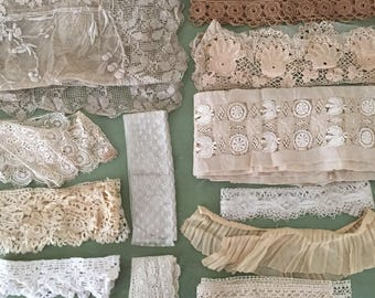 antique 1920s lace trim lot for cutter doll making