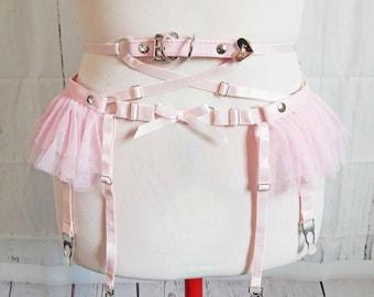 PRE-ORDER: Pink Faux Leather Frill Garter Belt, Pink Ruffle Garter Belt, Pink Faux Leather Garter Belt, Pink Burlesque Garter Belt